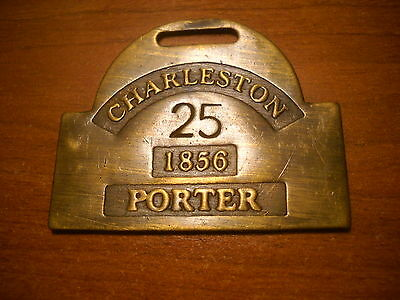 Charleston SC. VTG. Looking Brass Reproduction  ID Badge 1856 Porter  Slave Tag