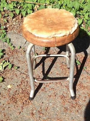 Old Wood and metal Industrial Stool