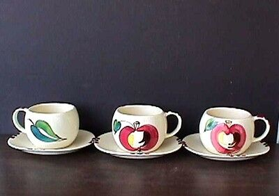 **purinton Apple Series (3) Cups & Saucers 1940'S-Ms25-F