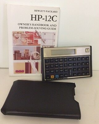 Vintage Hewlett Packard HP 12C Financial Calculator With Case Manual Tested Work