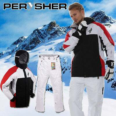PERYSHER Performance Mens Snowboard/ Ski Jacket & Pants: Stylish Red & White Set