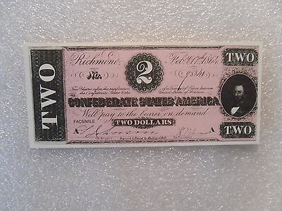 1864 THE CONFEDERATE STATES of AMERICA TWO DOLLARS