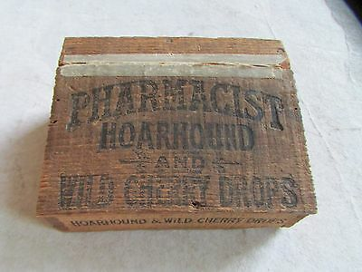 Pharmacist Hoarhound Cough Drops Cherry Box Wooden TRUE VINTAGE ANTIQUE