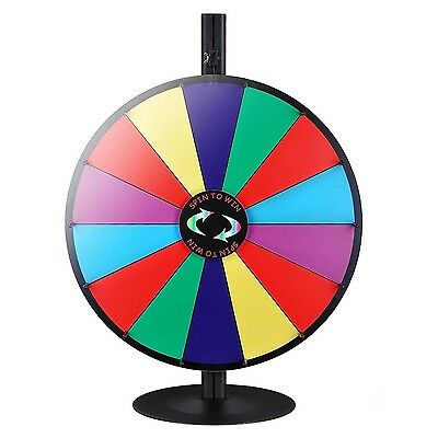 """WinSpin 24"""" 14 Slot Tabletop Color Dry Erase Prize Wheel +Stand Fortune Spinn..."""