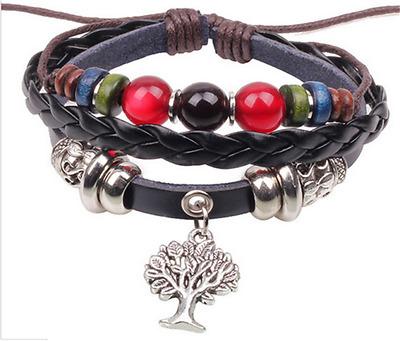 NEW-Jewelry-Fashion-Infinity-Leather-Charm-Bracelet-Silver-lots-Beads-Style-F12