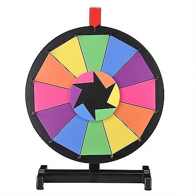 """WinSpin 15"""" Tabletop Editable Color Prize Wheel 12 Slot Spinning Game with Dr..."""