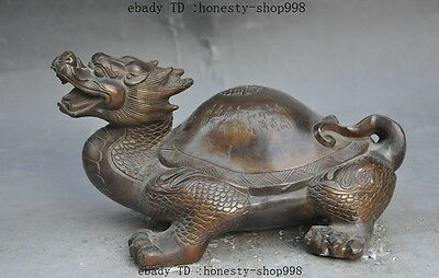 Lucky Old China FengShui Bronze longevity dragon turtle tortoise wealth statue