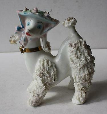 Vintage White French Poodle Dog Figurine-Statue Porcelain-Bonnet-Spaghetti-LOOK