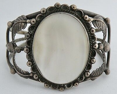 Large Old Pawn Sterling Silver Mother Of Pearl Cuff Bracelet Signed Pc