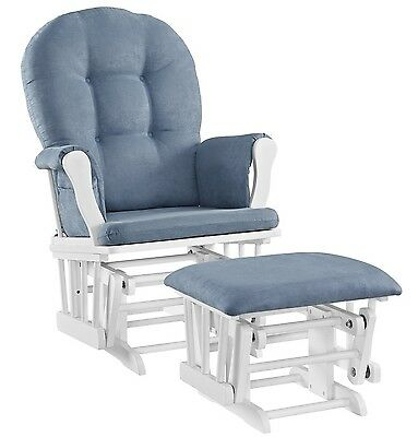 Angel Line Windsor Glider and Ottoman Set White with Blue Cushion