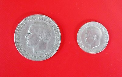 1968 & 1969 Greece. 10 Drachma & 1 Drachma (King Constantine / Double Heracles)
