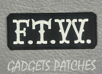 FTW 1pc F.T.W Biker Vest Embroidered Patches Badge Iron Sew On