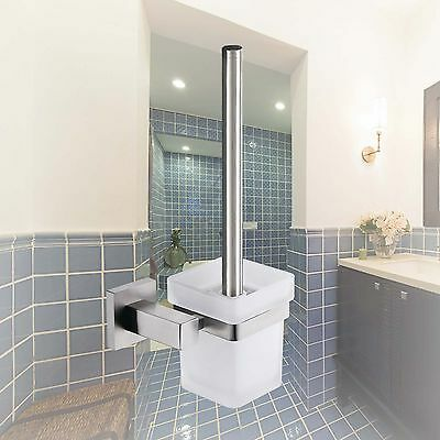 Bathroom Wall Mount Toilet Brushes SET Glass Cup with SS304 Holder Square Design