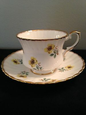 Gladstone Staffordshire Fine China Scalloped Tea cup and Saucer Yellow flowers