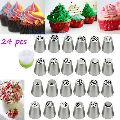 24 Pcs DIY Russian Icing Piping Nozzle Cake Flower Decor Tips Pastry Baking Tool