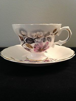 Lefton Fine China footed Tea cup and Saucer pink white flowers