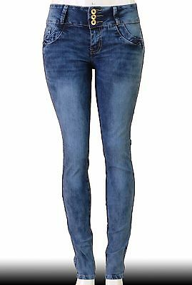 High Waist Stretch Push-Up Colombian Style Skinny Jeans in M.blue  Y5061