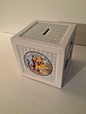 Disney Winnie the Pooh and Friends square box coin bank ceramic nursery