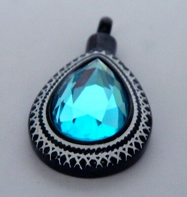 Stunning blue teardrop ashes keepsake pendant with real black leather cord
