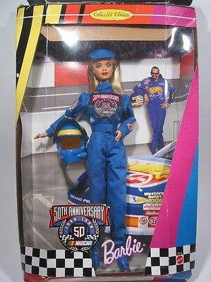 Vintage Barbie Doll 50th Anniversary Nascar Edition 1998 Set NEW in BOX GREAT