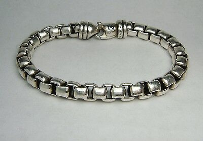 "David Yurman Sterling Silver 7 5/8"" Box link Bracelet  Chunky 7mm Wide"