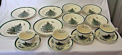 Set of Spode England Christmas Tree Green Trim Cup Saucer Soup Bowl Plate Lot 16