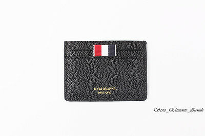Thom Browne Iconic Stripe Print Single Black Leather Card Holder on Sale 55% OFF