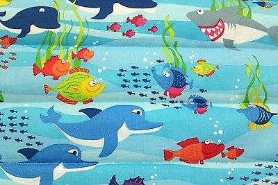 """HANDMADE """"UNDER THE SEA"""",35x43in BLUE COTTON,BOYS, BABY/TODDLER  QUILTED BLANKET"""