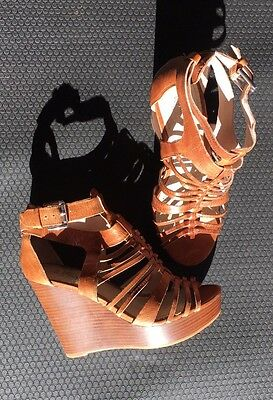 Wittner Tan Leather Wedges High Heels Sandals shoes 37 Boho