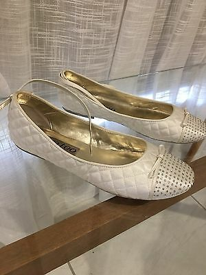 Women's Alan Pinkie Bridal Shoes, White Satin Flats, Size 10