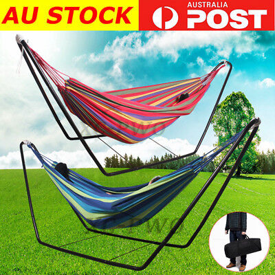 Double Hammock With Steel Stand and Portable Carrying Bag AU POST
