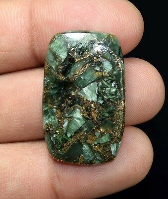Top Grade  24.40 Cts. Natural Copper Seraphinite Cab For Sterling Silver Jewelry