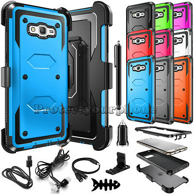 For Samsung Galaxy J7 2015 Shockproof Rugged Rubber PC Defender Hard Case Cover