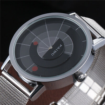 Casual Classic Sports Mens Wrist Watch Rotation Recorder Stainless Steel Mesh