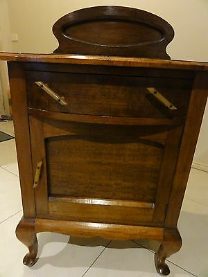 Antique Tasmanian Black Wood Cabinet With Queen Anne Feet