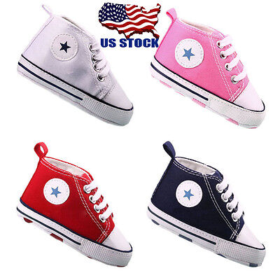 US Infant Toddler Baby Boy Girl Soft Sole Crib Shoes Sneaker Newborn to 18 Month