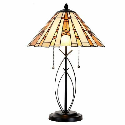 Tiffany Style Amber Table Lamp Egyptian Stained Glass Desk Lamp Home Decor