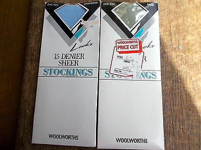 2 x Vintage Stockings Woolworths 15 Denier Sage & Wedgwood 1 Size Nylon 8.5-11""