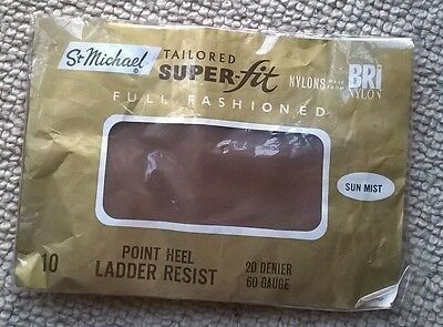 Vintage St Michael Stockings Tailored Super-Fit Full Fashioned Point Heel sz 10