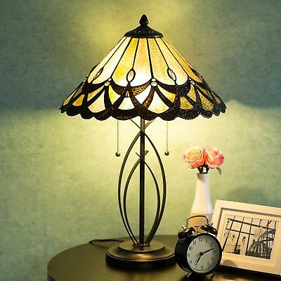Tiffany Style Amber Table Lamp Victorian Jeweled Stained Glass Desk Lamp Decor