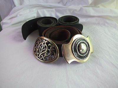 Oz made x3 all leather Sz 8-10 belt set +2metal buckles, interchangeable,quality