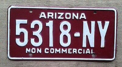 Arizona Non Commercial License Plate 5318-NY / White on Maroon