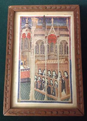 Antique Religious Framed Picture Nuns