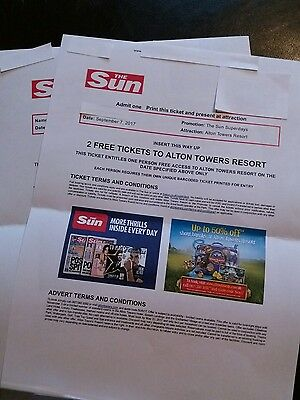 2 X ALTON TOWERS TICKETS FOR 7th SEPTEMBER 2017