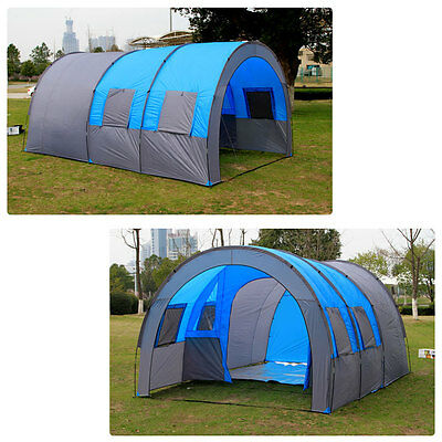 Large 5-8 Man Person Family Tunnel Tent Camping Hiking Outdoor 2+1 Room
