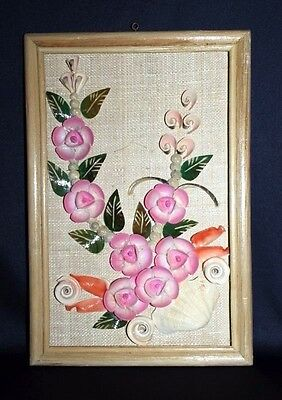 Beautiful Vintage Shell Art Picture With Flower & Foliage Theme