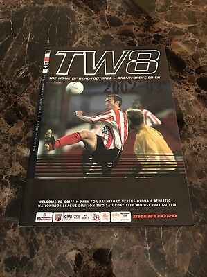 Brentford vs Oldham Athletic 17/08/2002 Division Two Official Programme