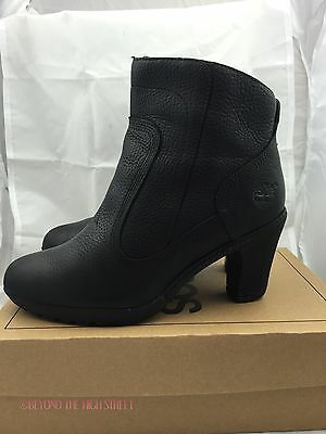TIMBERLAND Womens Size 5 High Heeled Ankle Boots Black Genuine Leather Heels
