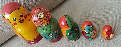Pokemon Russian Nesting Dolls Hand Painted Set Of 5 Pikachu Bulbasaur Charmander
