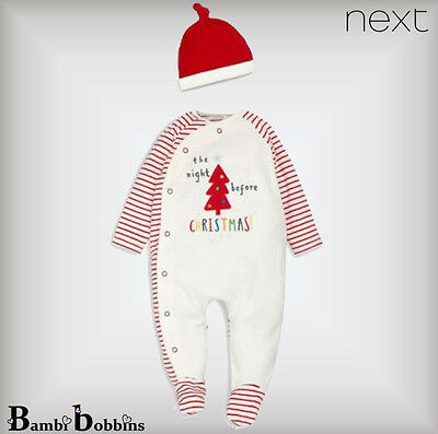 NEXT £12 Baby Boys Girls Before Christmas Newborn 0-1-3-6 Months Babygrow Outfit